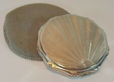VINTAGE ENGINE TURNED STERLING SILVER KIGU FLOWER SHAPED POWDER COMPACT 1938