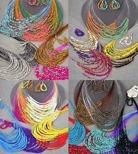 24PC (12 sets) WHOLESALE LOT FASHION JEWELRY, MULTILAYER BEADS NECKLACE EARRINGS