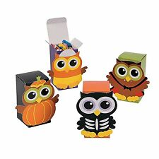 Set of 4 Cardboard Halloween OWL Party Favor Candy Treat Boxes