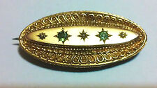 Antique Victorian  9k GOLD PEARL BERYL Mourning Artistic Brooch !! MUST SEE!