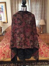 SUMPTUOUS CHIC LORO PIANA Flower print  X-LARGE reversible cashmere Shawl/Scarf