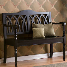 Upton Home Loma Antique Black Finish Wood Bench Decor Entry Furniture Lounge Den