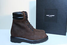New sz 8 US / 41 Eur SAINT LAURENT Brown Suede Army Combat  Ankle Boot MEN Shoes