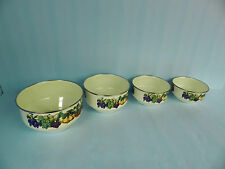GREAT SET OF 4 VITROCERAMIC INDUCTION COOKING POTS~BOWLS~BEIGE~FRUIT PATTERN