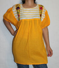 Manta 100% Cotton Hippie Peasant Crochet Mexican Hand Embroidered Blouse L-XL