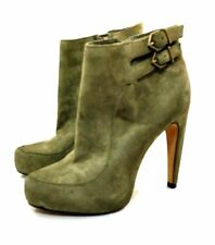 SAM EDELMAN Womens Olive Suede Zipper Ankle Boot Sz 5 N