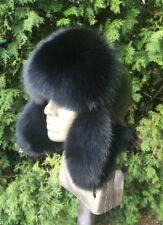 Fox Fur Ushanka Hat with Leather. Real Genuine Trapper Aviator Hat for a Men's.