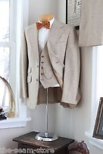 VTG Donegal Tweed Wool 3 Piece Suit 39L 35/31 Light Brown Vest Pants Jacket USA