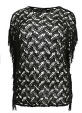 Black Yours Clothing Crochet Knit Tunic Top Tassels Plus Size 16 18 20 BNWT