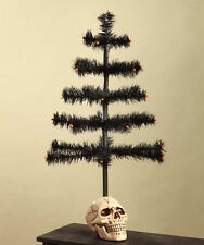 """HALLOWEEN SKULL and Black Goose Feather Ornament Tree 20"""" Bethany Lowe NEW"""