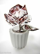 ROSE ANTIQUE PINK CRYSTAL CERAMIC FLOWER POT 2014 SWAROVSKI #5045566