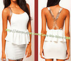 Womens Light Gold sequins cross strap Party club wear Backles peplum Mini Dress