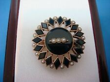 UNIQUE! 14K YELLOW GOLD VICTORIAN ONYX AND PEARLS BROOCH-PENDANT, 3.9 GRAMS