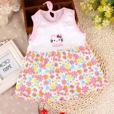 Newborn Baby Girls Infant Cartoon Flower Summer Dress Clothes Sleeveless T-shirt