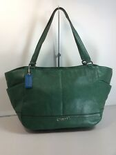 COACH PARK  GREEN PEBBLE LEATHER CARRIE TOTE BAG HANDBAG CARRYALL F23284