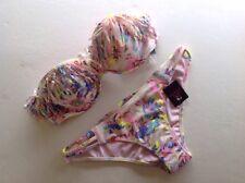 Victoria's Secret Swim NEW Pink Floral Strapless Push Up Bandeau 36B,M Bottom