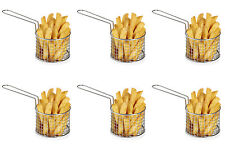 6pcs Chips Chip  Chrome Basket Server Food Serving Side Dishes Party Pub Food