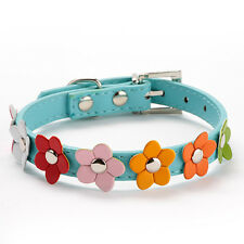 Pet Puppy Dog Neck Strap Flower Studded Collar Blue PU Leather Buckle XS