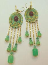 Vtg Carnelian Scarab Earrings Chrysoprase Patina Egyptian Luxor Egypt 1 of Kind