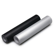 Black 3D Carbon Fiber Vinyl Car Wrap Sheet Roll Film Sticker Decal 10x127cm New