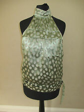 Stunning Karen Millen Green Spotty Silk Sleeveless Backless Top 10 38 (Evening)