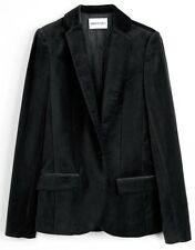 ZADIG & VOLTAIRE FR36 UK8 US4 IT40 BLACK VELVET VERO BLAZER JACKET
