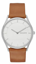 Skagen Men's BHolst Brown Leather Band 2-Hand Slim Analog Dress Watch SKW6219