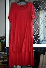 *Gudrun Sjoden* Christmassy red tiered lagenlook maxi dress M 38""