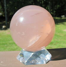 Large Star Rose Quartz Sphere / Crystal Ball Madagascar with Stand