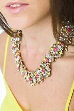 Statement Necklace Jewelled Pastel Floral Collar Necklace Pendant Fashion Style