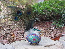 REAL Hand Painted Decorated Goose Egg Trinket/Keepsake Box Peacock Feather