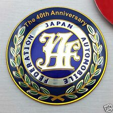 JAF 40th ANNIVERSARY JAPAN EMBLEM FEDERATION AUTOMOBILE BADGE ALUMINIUM STICKER