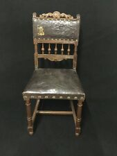 A Rare Lalique Leather-Upholstered Antique Walnut Gallery Chair
