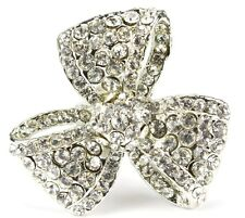 BROOCH LARGE SILVER BOW DIAMANTE VINTAGE PIN BRIDAL BOUQUET SHOE CAKE NEW UK
