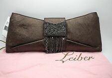 JUDITH LEIBER Metallic Bronze Leather Bow Crystal Chain Clutch Purse NWT $3,095