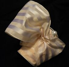 "5"" WIDE FRENCH SATIN & TAFFETA STRIPE WIRED RIBBON - CREAM ON CREAM"