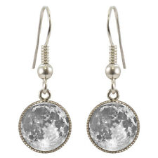 Full Moon Silver Plated Dangle Earrings Boxed