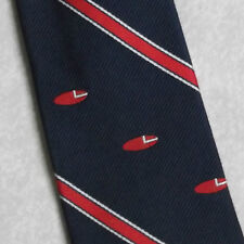 VINTAGE RUGBY CLUB TIE NAVY RED STRIPED 1970s 1980s BALL PATTERN