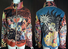 Vintage Alberto Makali Wonder Woman Comic Strip Punk Rocker Fleece Jacket NWT