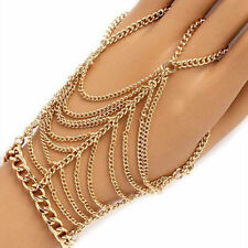 Hand Slave Chain Harness Bracelet Finger Wrist Ring Crystal Diamante Jewelry Hot