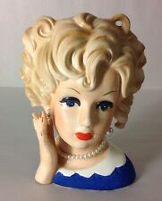 RELPO Lady Head Vase Blonde Pearls Hand Blue Dress Porcelain Figure Japan