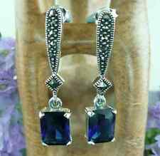 MARCASITE & SAPPHIRE Sterling Silver Art Deco Style Square Cut Drop Earrings