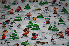 SNOOPY CHRISTMAS WINTER ICE SKATING SNOWBALLS COTTON FABRIC   ~ 1 YARD