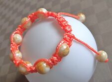 Bracelet macramé orange perles verre shamballa réglable Garcette drisse mixte