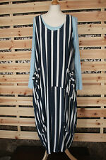 MADE IN ITALY STRIPE ARTY NAUTICAL QUIRKY PINAFORE STYLE DRESS OVER SIZE