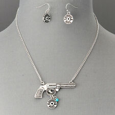 Antique Silver Revolver 12 Gauge Shotgun Shell Pendant Necklace With Earrings