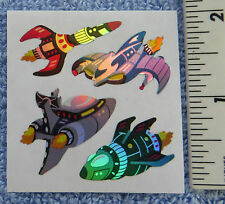 Sandylion SPACE SHIPS 1 Square RETIRED Vtg Prism Stickers RARE HARD TO FIND