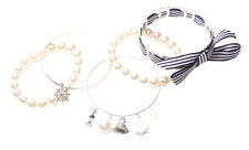 Paris Diaries 6 Pack-Stripe Bow/pearl, Wheel & Shell Charm/Pearl  Bangles (Ns12)