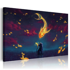 Canvas Prints Home Decor Wall Art Painting Picture-GoldFish Kiss Cat Unframed A+