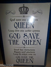 "GOD SAVE THE QUEEN/ NATIONAL ANTHEM, RETRO 12""X 8"" METAL SIGN, FREE UK POSTAGE."